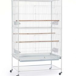 Prevue Wrought Iron Flight Cage with stand White 31x20.5x53