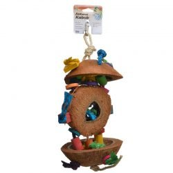 "Penn Plax Natural Coconut Bird Kabob with Wood & Sisal  (1 Pack - (Approx. 15"" High))"