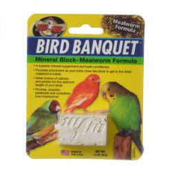 Zoo Med Bird Banquet Mineral Block - Mealworm Formula  (Small - 1 Block - 1 oz)