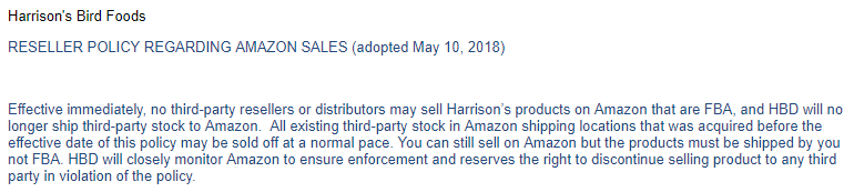 Harrison's Amazon Sales Restriction Policy