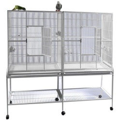 """64""""x21"""" Double Flight Cage with Divider"""