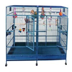 "Double Macaw Cage in Stainless Steel (80""x40"")"
