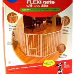 "Carlson Pet Gates Flexi Walk Thru Gate with Pet Door - White (X-Tall - up to 76"" Wide x 38"" Tall)"