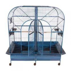"Double Macaw Cage in Stainless Steel with Removable Divider (64""x32""x74"")"