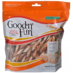 Healthy Hide Good 'n' Fun Triple-Flavor Twists - Rawhide, Pork Hide & Chicken (35 Pack)