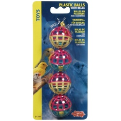 Living World Plastic Balls with Bells Bird Toy  (4 Pack)