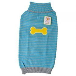 Lookin' Good Striped Bone Patch Dog Sweater - Turquoise