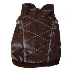 Pet Life Wuff-Rider Brown Leather Dog Bomber Jacket