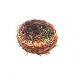 Small Natural Open Finch Nest with Leaves