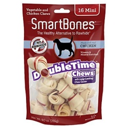 """SmartBones DoubleTime Bone Chews for Dogs - Chicken  (Mini - 16 Pack - (2.5"""" Long - For Dogs 5-10 lbs))"""