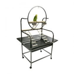 "The ""O"" Parrot Play Stand (Black)"