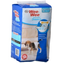 "Four Paws Wee Wee Diapers for Dogs (12 Pack - Medium (Dogs 15-35 lbs with 18""-25"" Waist))"